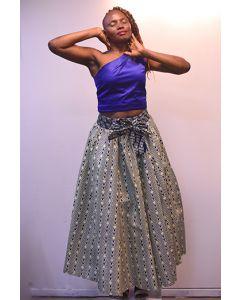 Combi blauw rok